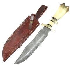 "TheBoneEdge 17"" Damascus Steel Custom Hand Made Hunting Knife Horn Handle With Sheath"