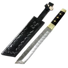 "TheBoneEdge 13"" Damascus Steel Custom Hand Made Hunting Knife Horn Handle With Sheath"