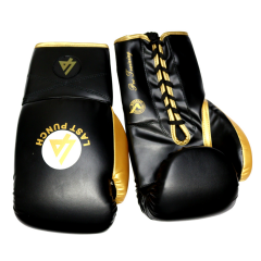Last Punch Pro Style Black & Gold Adult 12 Oz Training Sparring Boxing Gloves