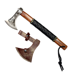 "TheBoneEdge 17.5"" Hunting Axe Steel Blade Dark Brown Wood Handle With Sheath"