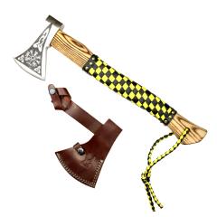"TheBoneEdge 18"" Hunting Axe Steel Blade Light Brown Wood Handle With Sheath"