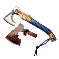 "TheBoneEdge 18"" Hunting Axe Brown Wood Handle Steel Blade With Sheath"