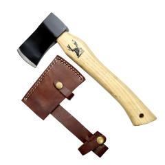 "TheBoneEdge 12"" Hunting Axe Black Steel Blade Brown Wood Handle With Sheath"