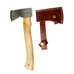 "TheBoneEdge 11"" Hunting Axe Black Steel Blade Brown Wood Handle With Sheath"