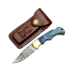 """TheBoneEdge 7"""" Blue Wood Handle Damascus Blade Folding Knife With Leather Pouch"""