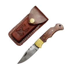 """TheBoneEdge 7"""" Dark Wood Handle Damascus Blade Folding Knife With Leather Pouch"""