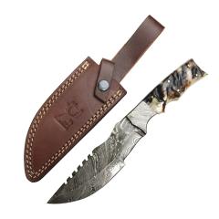 "TheBoneEdge 10.5"" Damascus Steel Fixed Blade Full Tang Black Ram Horn Handle Hunting Knife"