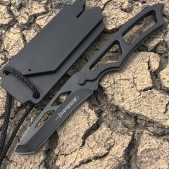 "6.5"" Full Tang Hunting Knife Stainless Steel Whistle Sheath All Black"