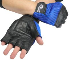 Leather Gloves Blue Color