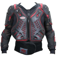 Perrini Red & Black CE Approved Full Body Armor Motorcycle Jacket
