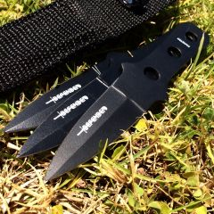 New Set of 3 All Black Throwing Knives with Sheath