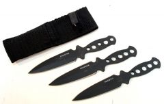 Set of 3 Black Throwing Knives with Sheath