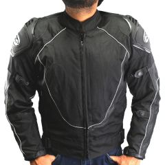 Perrini Mens Classic BLK Motorcycle Armor Biker Racing Motorbike Cordura Jacket