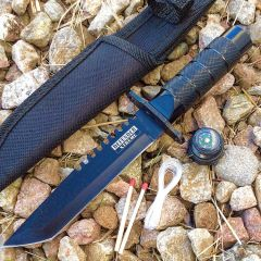 "8.5"" Stainless Steel Survival Knife All Black With Sheath"