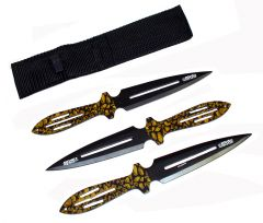 """Set of 3 Throwing Knives 9"""" with Camo Handle & Sheath"""