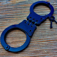 Black Steel Hinged Heavy Duty Handcuffs