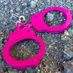 Defender Double Lock Carbon Steel Handcuffs Hot Pink Police Quality