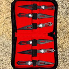 """Set Of 6 Black 5.5"""" Throwing Knives With Carrying Case"""