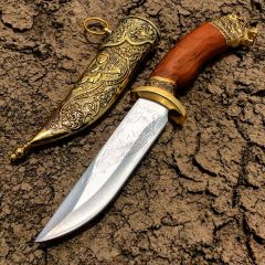 "11"" Dagger with Sheath Gold Color & Bear Design"