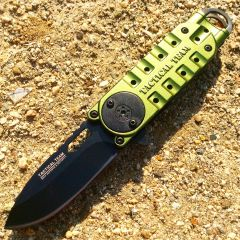 "Green 6 1/4"" Mini Folding Spring Assisted Knife with Clip"
