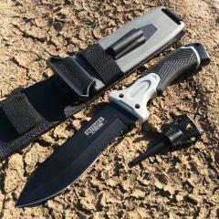 "11"" Black Survival II Knife With Blade Sharpener, Fire Starter & Sheath"