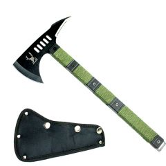 "14 1/2"" The Bone Edge Black Blade Tactical Axe with Sheath Green Handle"