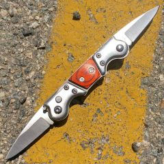 """7"""" Double End Bladed Mini Spring Assisted Knife Metal Wood Handle"""