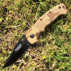 """7.5"""" Mini Folding Spring Assisted Knife Green Handle With Clip"""