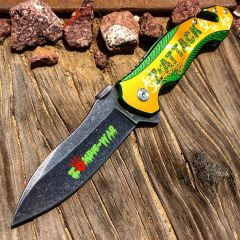 "8"" S/A Zombie Killer Stone Wash Blade Pocket Knife Metal Handle W/ Seat Belt Cutter"