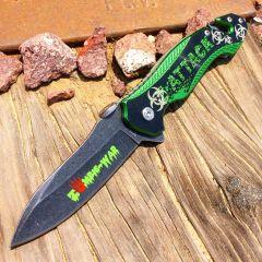 "8"" S/A Pocket Knife Zombie Killer Stone Wash Blade Metal Handle W/ Seat Belt Cutter"