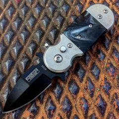 "5"" (S/A) Black & Grey Mini Push Button Knife Metal Handle W/Belt Clip"
