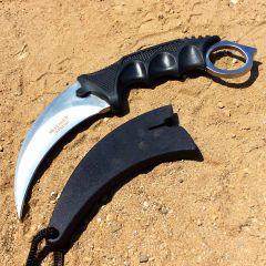 "7.5"" Black Sharp Blade Skinner Hunting Karambit Knife with Sheath"