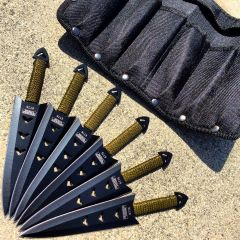 """6PC of 6.5"""" Black Throwing Knives Stainless Steel Blade with Pouch"""