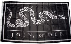 3x5 Super Polyester Black Reverse Join or Die Flag indoor Outdoor