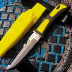 "9"" Heavy Duty Yellow Sawtail Drop Point Diving Swimming Scuba Knife"