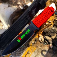 """10.75"""" Zombie War Hunting Knife Red Cord Wrapped Handle with Sheath"""