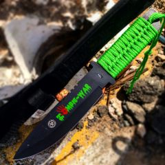 """10.75"""" Zombie War Hunting Knife Green Cord Wrapped Handle with Sheath"""