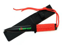 """11"""" Zombie War Red Cord Wrapped Handle Hunting Knife with Sheath"""