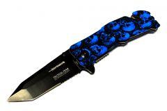 "8"" Skull Design Handle Tactical Team Spring Assisted Knife with Belt Clip"