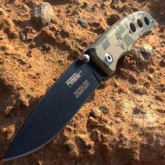 "7"" Defender Xtreme Black Blade & Green Camo Handle Design Spring Assisted Knife with Belt Clip"