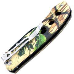 """7"""" Defender Xtreme Gut Hook Black Blade & Desert Sand Camo Handle Design Spring Assisted Knife with Belt Clip"""