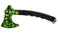 "9.75"" Zomb-War Tactical Axe Skull Design Green"