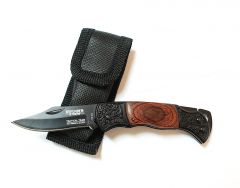"""5.25"""" Mini Tactical Team Wood & Black Handle Design Folding Knife with Pouch"""