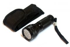 "4"" Black 21 LED Metal Flashlight with Nylon Carrying Case"