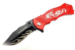 """8"""" Defender Spring Assisted Knife with Serrated Stainless Steel Blade - Red"""
