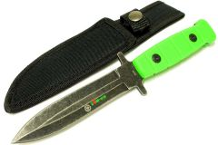 "9"" Zomb-War Stainless Steel Hunting Knife with Stone Washed Blade"