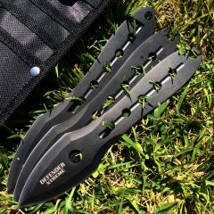 Set of 3 All Black Defender Throwing Knives with Sheath