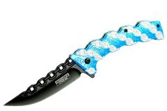 """8"""" Defender Xtreme Blue Chain Spring Assisted Knife"""