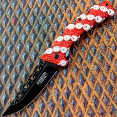 """8"""" Defender Xtreme Red Chain Spring Assisted Knife"""
