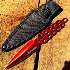 """8"""" Defender Red Flame Throwing Knife with Sheath"""